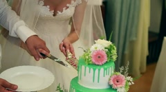 A bride and a groom is cutting their wedding cake Stock Footage