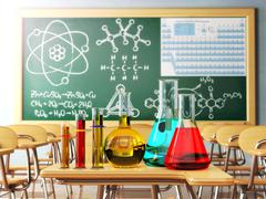 Laboratory glassware with formula on blackdesk in the school chemistry lab. Stock Illustration