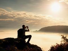 Dreamy fogy landscape. Amateur photographer takes impressive photos with phon Stock Photos