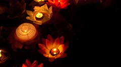 Floating Lotus Flower Paper Lanterns On Water Stock Footage