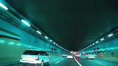 Driving through tunnel, Dubai, United Arab Emirates Stock Footage