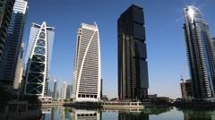 Jumeirah Lakes Towers, Dubai Multi Commodities Centre, UAE Stock Footage
