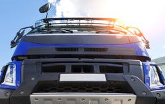 Modern truck cabin bottom view of the sun background Stock Photos
