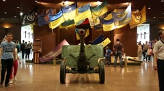 People in Kiev national museum of the history of Ukraine in the Second World War Stock Footage