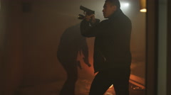 4K Vice squad detectives with handguns & flashlights running a drugs raid Stock Footage