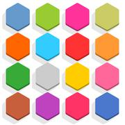 Flat blank web button hexagon icon set with shadow Stock Illustration