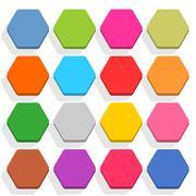 Flat blank web button hexagon icon set with shadow - stock illustration