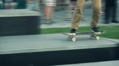 Skateboarding extreme teenage sport slow motion  Stock Footage