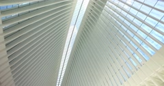 Looking Up at Ceiling of the Oculus Transportation and Shopping Hub Stock Footage