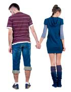 Back view of offended young pair Stock Photos