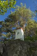 Boundary Stone, Poland, Slovakia, Szafranowka Mountain Stock Photos
