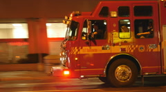 Firetruck at night with flashing lights. Toronto, Canada. Stock Footage