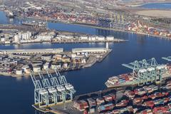 Aerial View of Los Angeles Harbor Stock Photos