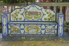 Seat, bank beautiful painted tile pieces in Marbella, Andalucia Spain Stock Photos