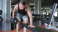 People training, working out, exercising in gym and fitness club Stock Footage