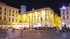 Florence, night time lapse of Piazza della Repubblica Stock Footage