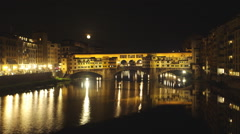 Pontevecchio timelapse, long Moon movement, fixed camera. Stock Footage