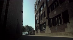 Low angle shot of alley way and buildings in Old Town Stock Footage
