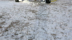 Installation for the production of artificial snow is on wheels Stock Footage