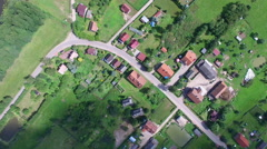 Aerial satellite view of village in Poland Stock Footage