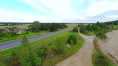 Country road with cars - nature background. Fields and tress. Aerial.footage. Stock Footage