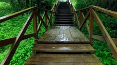 Walk Up via Wooden Stairs with Railing Stock Footage
