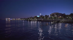 Port of limassol at night time. Reflection of the lights Stock Footage