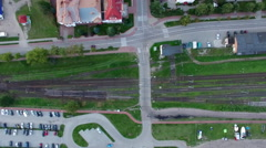 Railway line vertical aerial Stock Footage