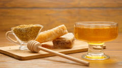 Composition of honey, honeycomb and bee bread (LR Pan) Stock Footage