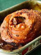 Roast golden crispy german pork knuckle Stock Photos