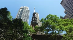 Day Establishing Shot St. Paul's Chapel of Trinity Church Wall Street Stock Footage