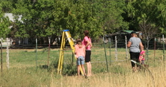 Picking fruit family orchard move ladder DCI 4K Stock Footage