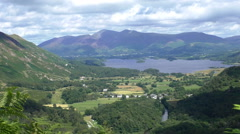 Derwentwater lake and mountains  scenery from above Stock Footage