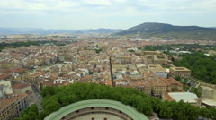 Aerial video above narrow city streets in Pamplona Stock Footage
