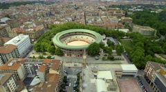 Aerial view of bullring stadium and city, Pamplona Stock Footage
