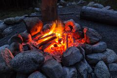 Camp fire in the nigth Stock Photos
