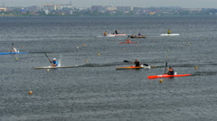 Ace sprint distance athletes men kayak Stock Footage