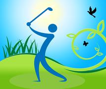 Golf Swing Man Indicates Fairway Golfer And Playing Piirros