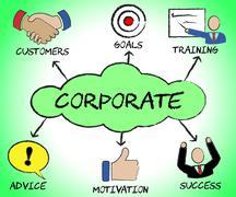 Corporate Symbols Indicates Professional Enterprise And Corporation Stock Illustration