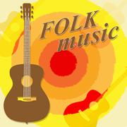 Folk Music Means Country Ballards And Soundtracks Stock Illustration