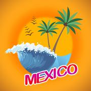 Mexico Vacation Means Cancun Holiday And Beaches Stock Illustration