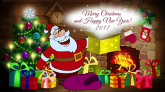 Animated card Merry Christmas and New Year! Stock Footage