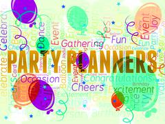 Party Planners Represents Plans Planning And Celebrations - stock illustration