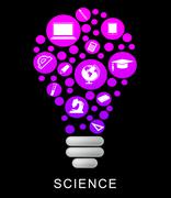 Science Lightbulb Indicates Physics Chemistry And Investigation - stock illustration