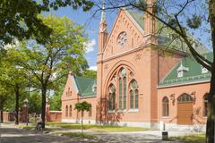 Poland, Gliwice, Disused Funeral House at Jewish Cemetary Stock Photos