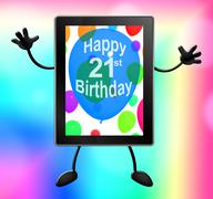 Multicolored Balloons For Celebrating An 21st or Twenty First Birthday Stock Illustration