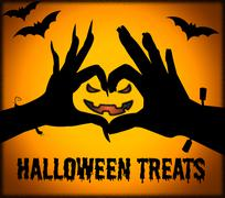 Halloween Treats Means Spooky Luxuries And Candy Stock Illustration