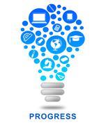 Progress Lightbulb Indicates Growth Advancement And Betterment Stock Illustration