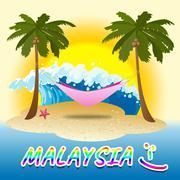 Malaysia Holiday Shows Kuala Lumpur And Beaches Stock Illustration
