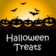 Halloween Treats Shows Spooky Luxuries And Candy - stock illustration